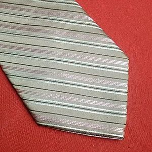 Claiborne Striped Silk Tie EUC